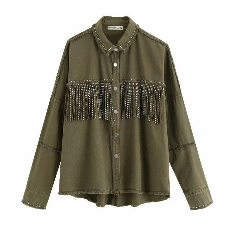Spring tassels for breast Denim Jacket Loose Army Green Button Coat Woman Jeans Jacket