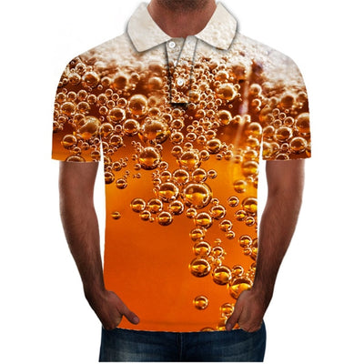 polo shirt men beer 3D Print Short Sleeves Polo Shirt New Summer Slim Casual Polo Shirt Men Clothing polo homme