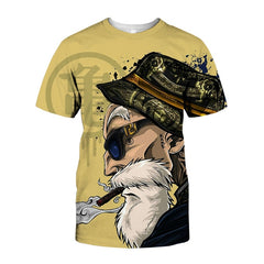 Men Anime Print Dragon Ball 3D T-Shirt Oogway Tees Master Roshi Men T shirt Streetwear Plus Size