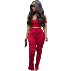 Summer Sport Solid Women two piece set Tracksuits crop tops stacked flare jogger pants Suit Outfits Matching Set