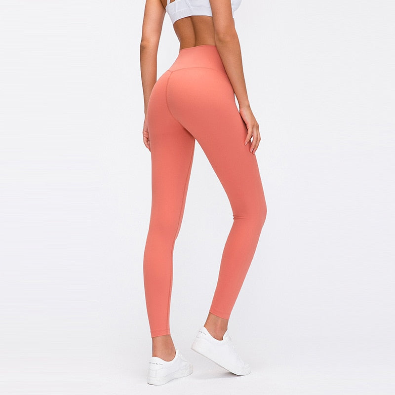 Naked-feel Woman Leggings Fitness Leggings Sports Mid Waist Ankle-Length Pants multiple color Solid High Compression