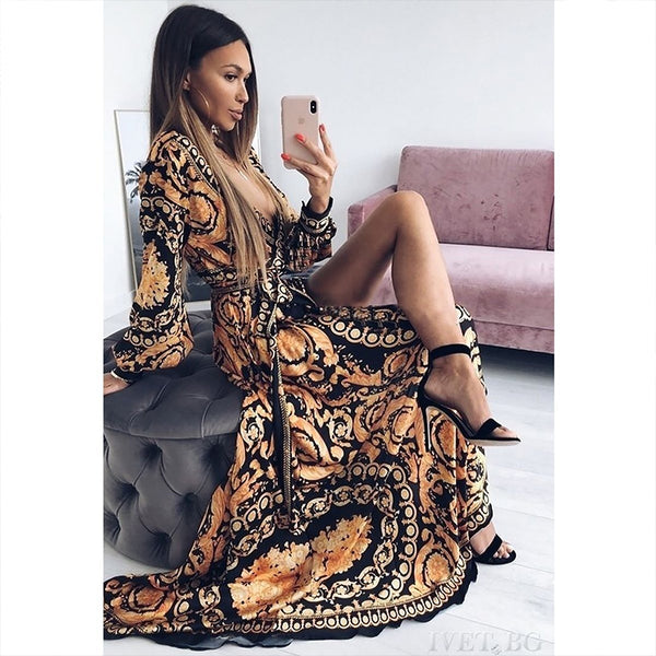 Womens Maxi Dress Sexy Paisley Party Dress Robe Clubwear