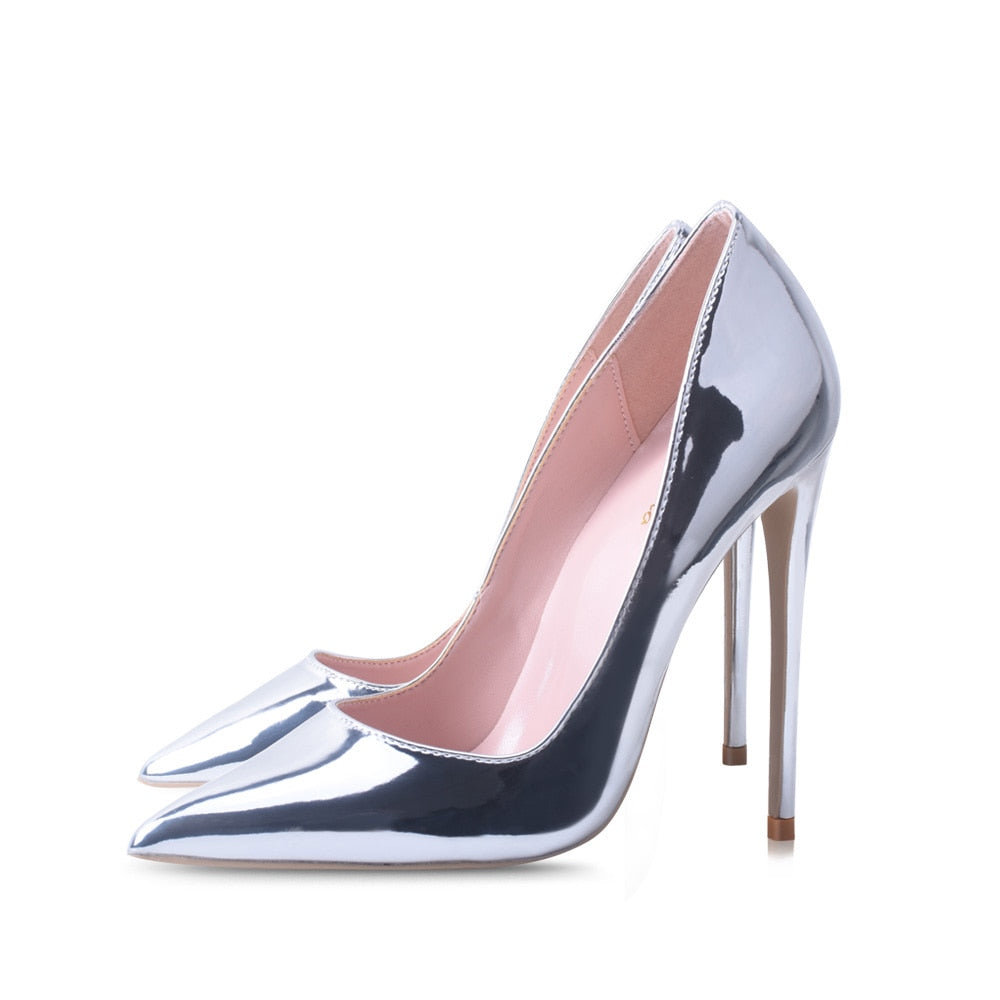 Women Pumps High Heels Silver Sexy High Heels Shoes for Women Stilettos Fashion Luxury Wedding Party Shoes Big Size