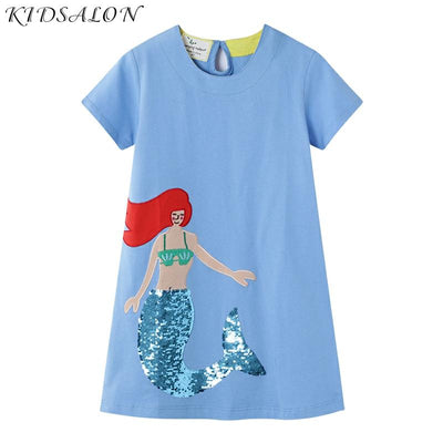 Mermaid Sequined Dress Baby Girl Clothes Summer New Girls Unicorn Dress