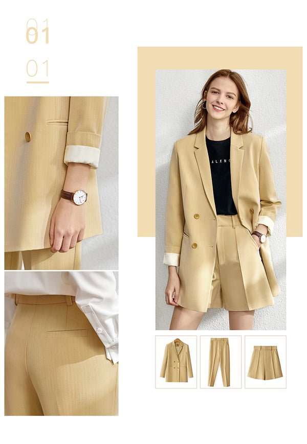 Minimalism set for women Autumn 4 piece set Solid blazer,vest,high waist pants
