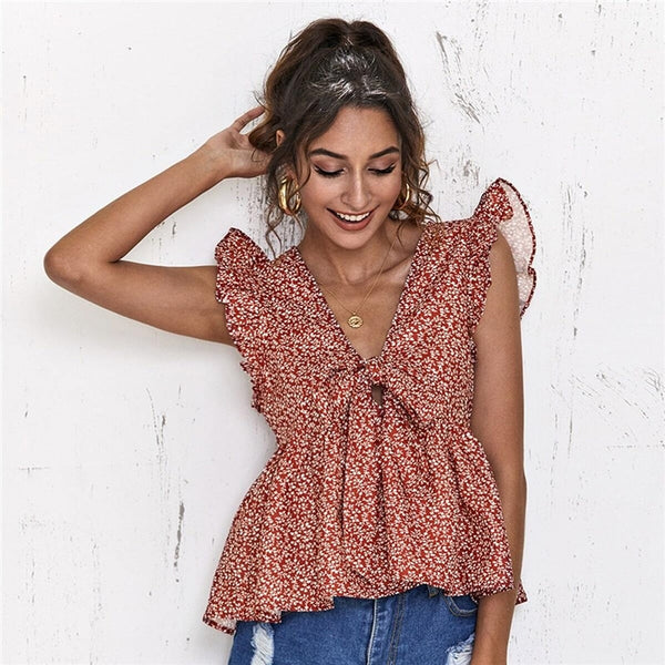 Women Summer V Neck Sleeveless Ladies Ditsy Floral Boho Cute Tops