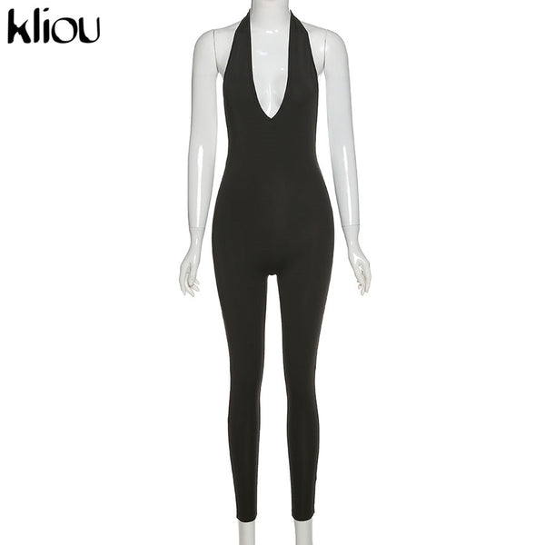 Halter women activewear v-neck sexy bandage sleeveless jumpsuit skinny rompers