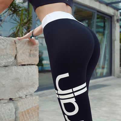 High Elastic Letter Gym Leggings Sportswear High Waist Skinny Women's Pants