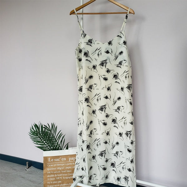Summer leopard dress floral printing sundress sexy sleeveless midi dress