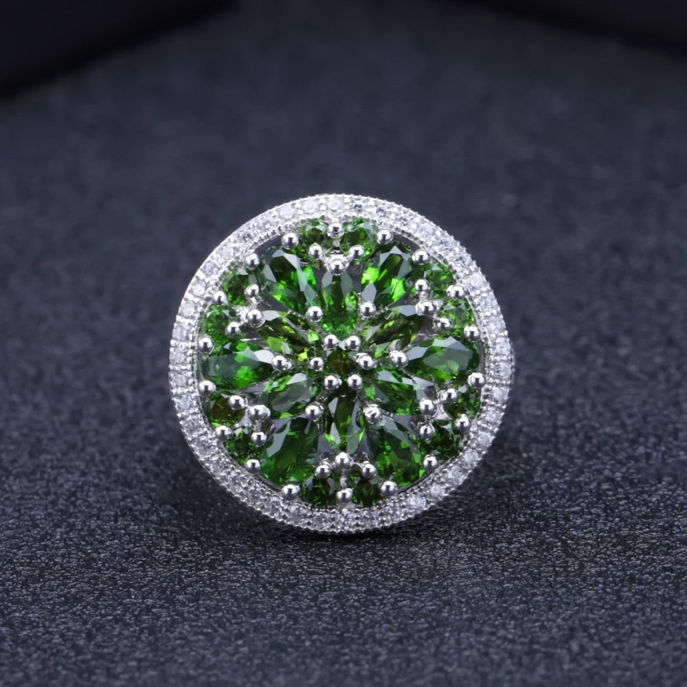 3.50Ct Natural Chrome Diopside Gemstone Ring 925 Sterling Silver Vintage Cocktail Rings for Women Fine Jewelry