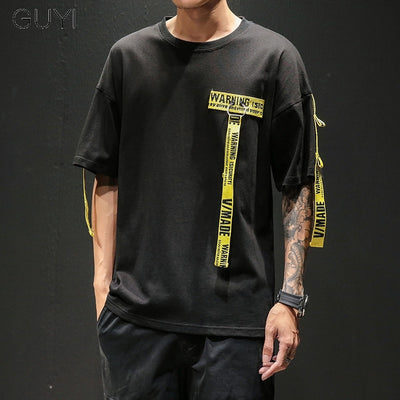 Tag T Shirt O-neck Off Tops Tees Male Boy White Casual Fashion Streetwear Gold Side Stripe Men Short Sleeve Black Patchwork