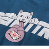Men T Shirt Streetwear Japanese Harajuku Tshirt Funny Cat Print Hip Hop T-Shirt Short Sleeve
