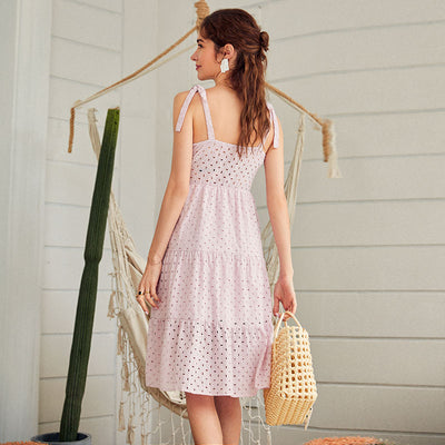White women summer beach dress Bow-knot spaghetti embroidery female midi dress