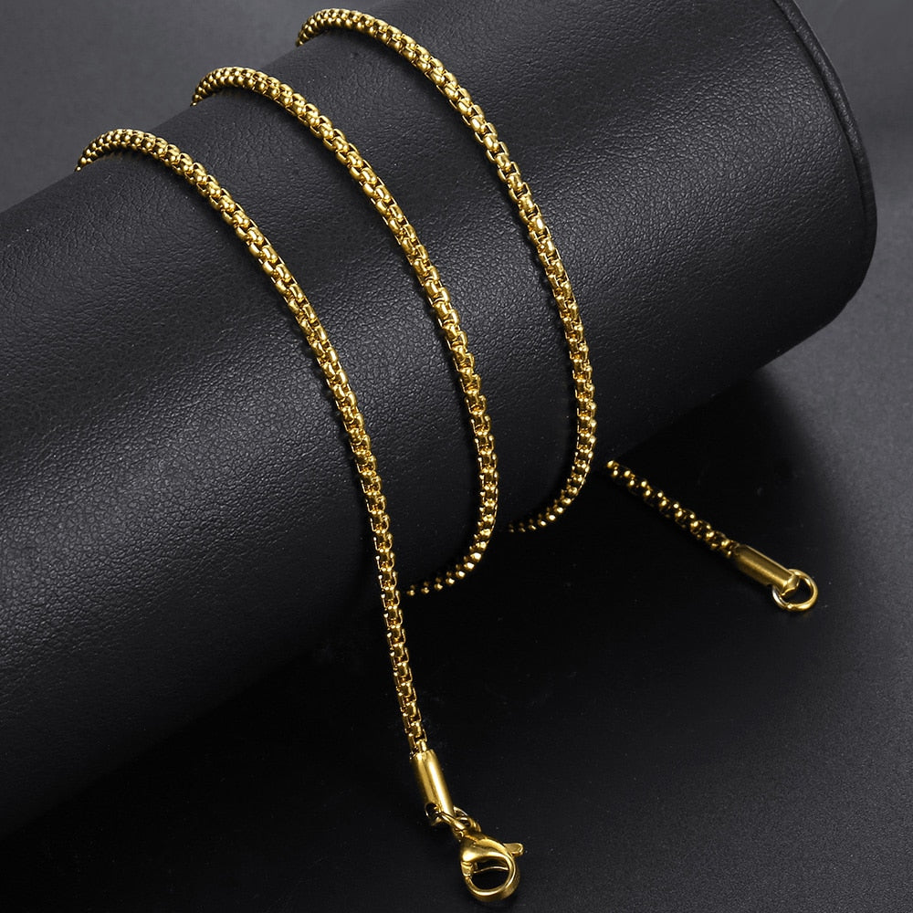 Width 2mm Round Box Chain Necklaces For Women Men Gold Stainless Steel Necklace Never Fade Wholesale Jewelry
