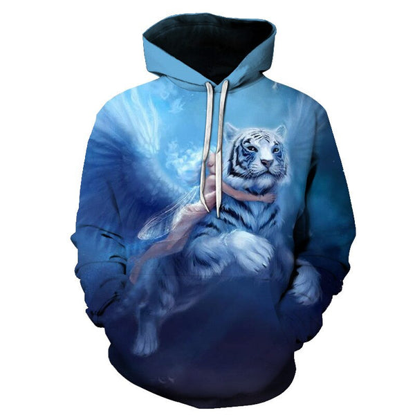 3D Print Flame Tiger Hoodie Men Sweatshirt Men Women Hoodies Plus Size Pullover Novelty 6XL Casual Animal Coats