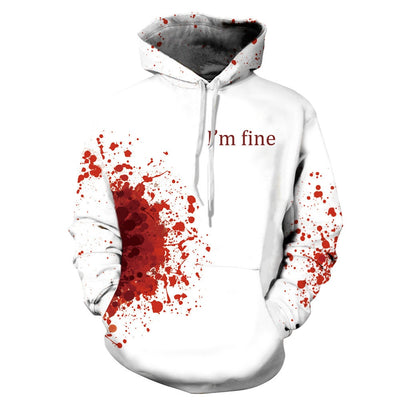 3D Print Wound Horror Blood Hoodies Sweatshirts Women Men I'M FINE Letter Hoodie Jumper Tracksuit Pullover Cosplay Women Tops