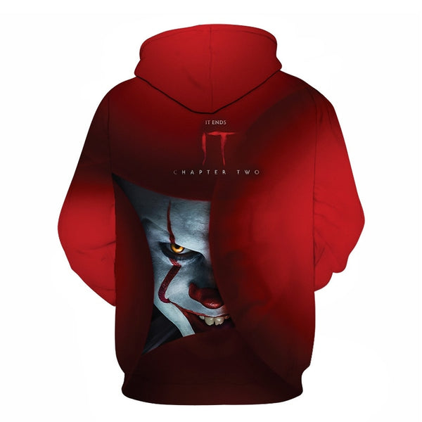 Horror Movie IT Clown 3D Print Hoodie Funny Pullover joker sweatshirt Hip Hop Sudadera hombre coat winter jacket men harajuku