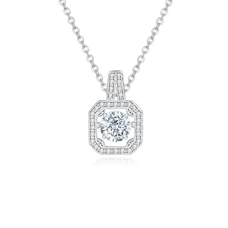 0.5Ct D Color Moissanite Diamond Pendant Necklace for Women Fine Jewelry 925 Sterling Silver Shiny Square Pendant