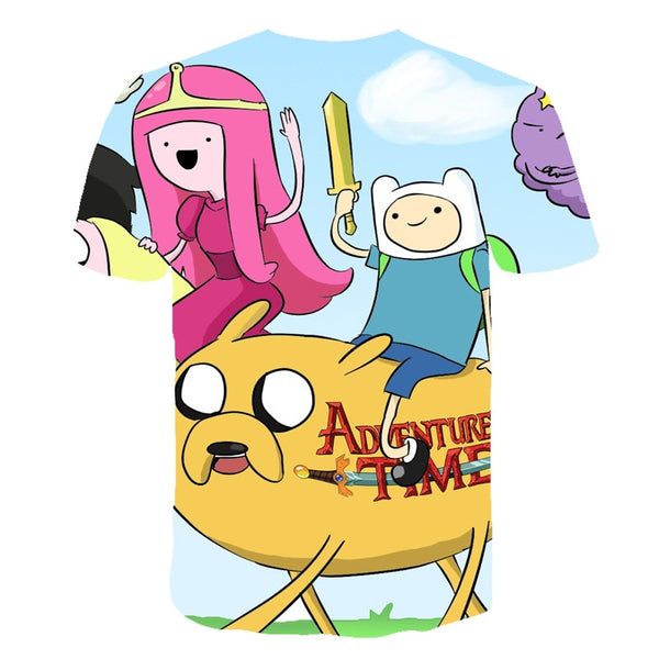 Fashion Style Adventure Time t-shirt jake and finn Singing playing guitar 3d print short sleeve t-shirt women men Kid lovely top