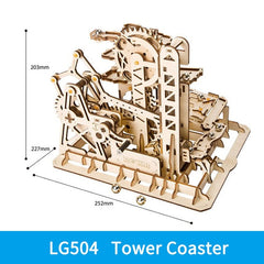 ROKR DIY Marble Run Blocks Game 3D Wooden Puzzle Waterwheel Coaster Model Building Kit Toys for Children LG501