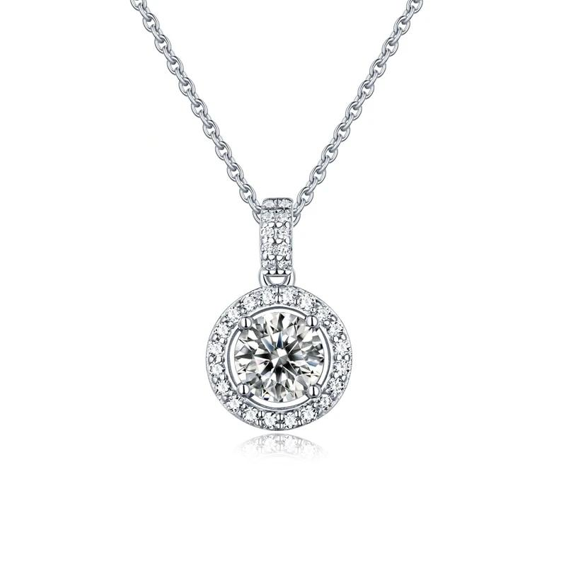 925 Sterling Silver Moissanite Jewelry 1.0Ct D Color Twinkle Stone Moissanite Diamond Round Pendant Necklace