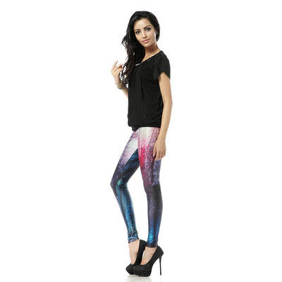 Fashion Plus Size Printing Leggings Woman Starry Sky Midnight Woods Leggins Women Fitness Skinny Pants Autumn