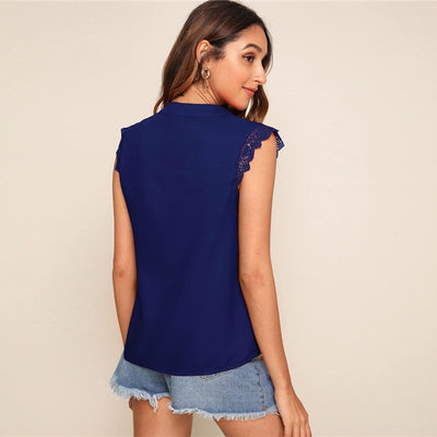 V-Placket Lace Trim Shell Top Elegant V neck Stand Collar Summer Sleeveless Womens Tops and Blouses