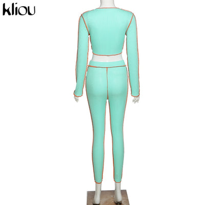 V-neck bandage long sleeve striped neon crop top sling sporty leggings ribbed matching set