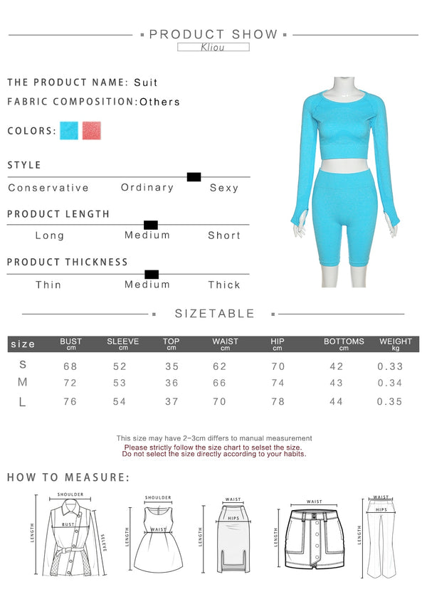 women fitness tracksuit 2 piece set o-neck full sleeve+biker shorts seamless matching set elastic casual skinny streetwear