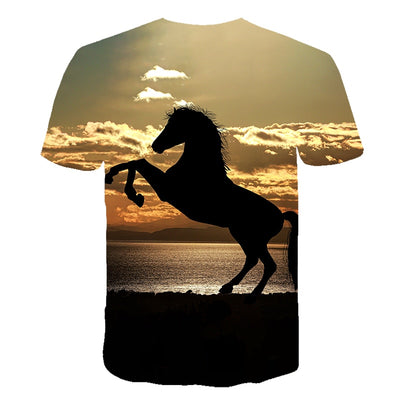 Men Streetwear Round Neck Short Sleeve Tees Tops Funny Animal Male Clothes Casual Run Horse 3D Print Tshirt