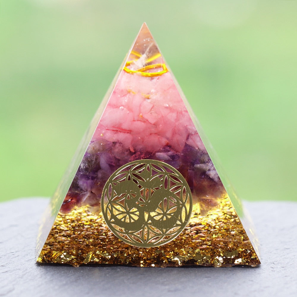 Rose Quartz Healing Orgone Pyramid with om Symbol Energy Generator Crystal Mediation Home Office Deco
