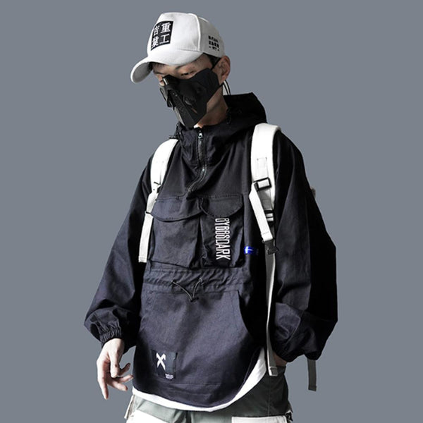 Hip Hop Men Cargo Jackes Autumn Fashion Casual Pullover Streetwear Harajuku Multi Pockets Male Coats Jacket