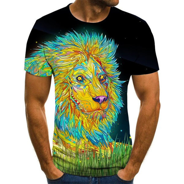 Fun animal graphic T-shirt 3D printed Harajuku tops Summer men's T-shirt casual round neck shirt fashion streetwear