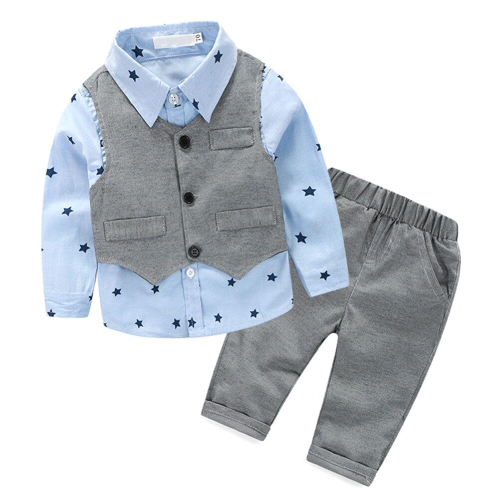 Baby Boys Clothes Sets Gentleman 3 Pieces Sets Vest + t-shirt + Pants Children Clothing