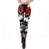 Halloween Sugar Skull Leggings For Women Girl Rose Print Fantastic Workout Party Ankle Pant
