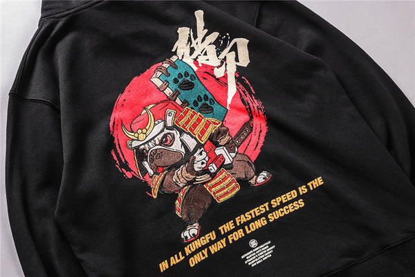 Harajuku Hip Hop Embroidered Samurai Dog Print Hoodies Sweatshirts Streetwear Chinese Characters Pullover Hooded Tops