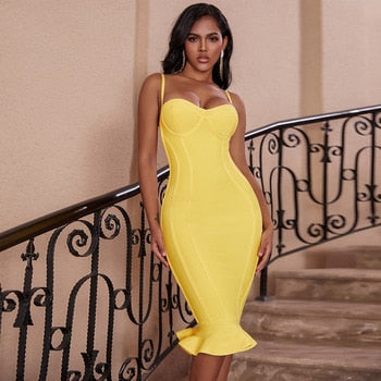 Women Lemon Yellow Fluted Bustier Mermaid Bandage Dress  Sexy Club Party Dresss
