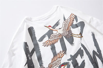 Japanese Style Crane Printed Cotton T Shirts 2019 Harajuku Mens Summer Oversize Graffiti Tops & Tees