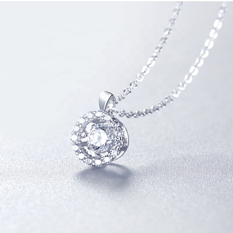925 Sterling Silver Pendant For Women Women 0.5Ct 5.0mm Twinkle Setting Moissanite Diamond Pendant Necklace