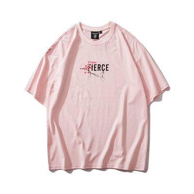 Japanese Style Cherry Tshirt Streetwear Short Sleeve T Shirt Cotton Pink Tees Men Harajuku Hip Hop Oversized T-Shirt
