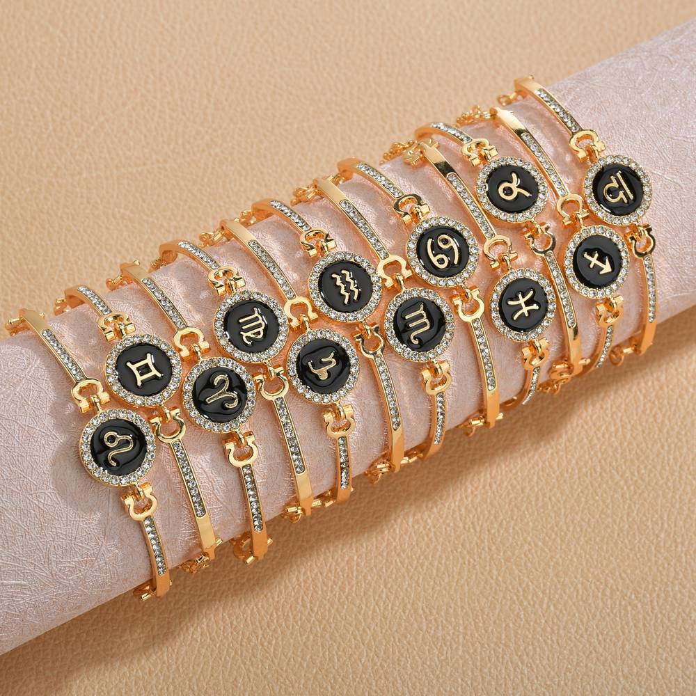 Zircon Constellation Bracelets for Women Leo Virgo Libra Zodiac Bangle Crystal Charm Chain Friendship Bracelet Female Jewelry