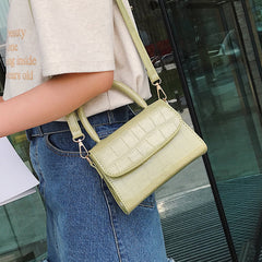 Women Retro Pure Color Vintage Leather Handbag Messenger Simple Crossbody Bag Handbags Geometric Shoulder Bags White Green Black