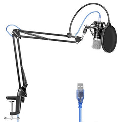 USB Microphone for Windows and Mac with Stand, Shock Mount, Pop Filter,Kit for Broadcasting and Sound Recording (Black)