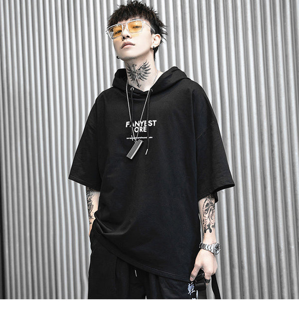 Mens Hooded T Shirt Hip Hop Japanese Style Summer T-Shirt Streetwear Harajuku Tshirt Hoodie Short Sleeve