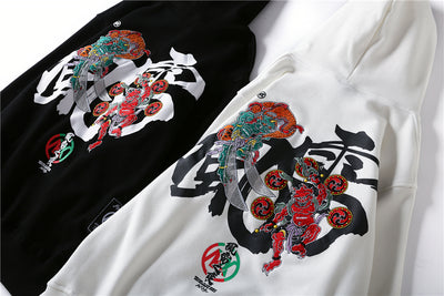 Embroidery Japanese Wind Thunder Devil Hoodie Streetwear Harajuku Hip Hop Chinese Style Hooded Sweatshirts Men Oversize