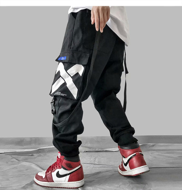 Multi Pockets Printed Cargo Pants Men Harajuku Hip Hop Casual Ribbons Trousers Streetwear Joggers Sweatpants