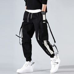 Men Hip Hop Black Cargo Pants joggers Sweatpants Multi-pocket Ribbons men's sports pants streetwear casual men's casual pants