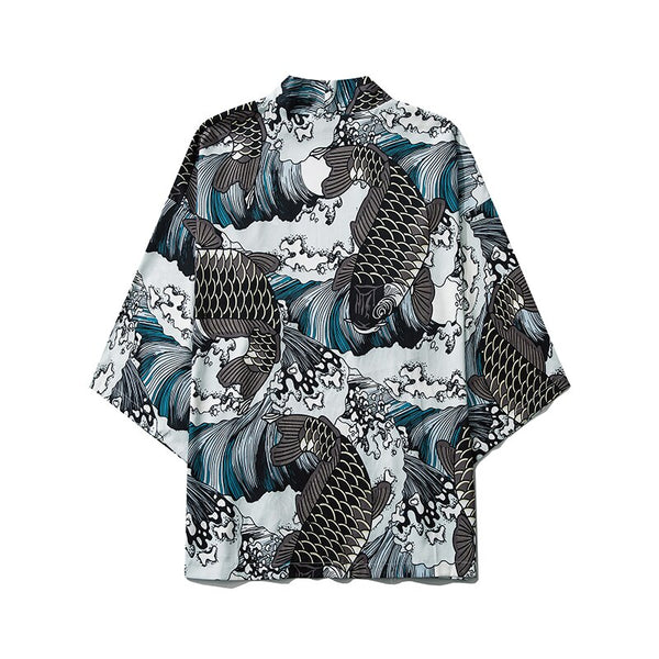 Japan Carp Print Kimono Men Women Japanese Style Traditional Cardigan Yukata Streetwear Haori Clothes