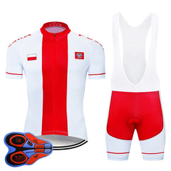 Team Poland Cycling Clothing 9D Set MTB Jersey Bicycle Clothes Ropa Ciclismo Quick Dry Bike Wear Mens Short Maillot Culotte