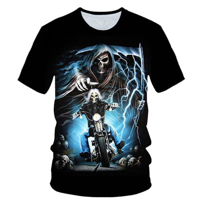 Funny Skull Motorbike 3D T Shirt Summer Hipster Short Sleeve Tee Tops Men/Women Print T-Shirts Casual Homme Short Sleeve Top